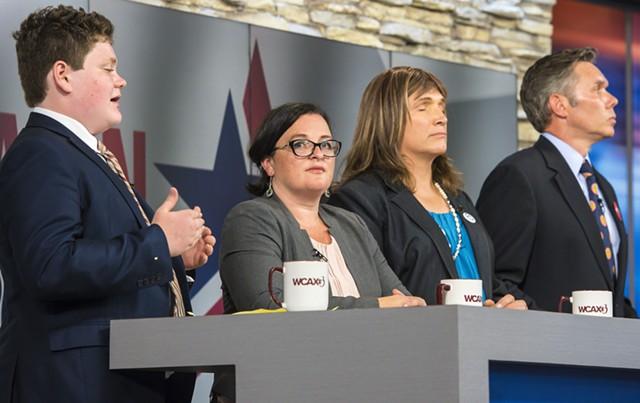 Democratic gubernatorial candidates at a recent forum, from left, Ethan Sonneborn, Brenda Siegel, Christine Hallquist, and James Ehlers - FILE: GLENN RUSSELL