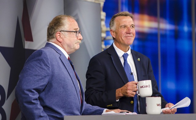 Gov. Phil Scott (right) and Republican challenger Keith Stern - FILE: GLENN RUSSELL