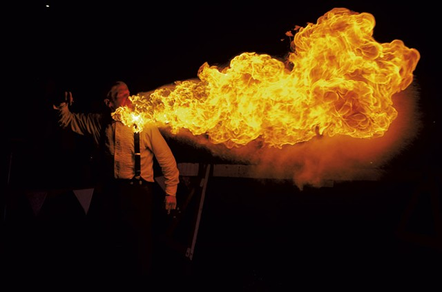 Sculptor and fire breather Chris Cleary at a previous Art Hop - STEPHEN MEASE