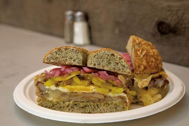 Triforce breakfast sandwich at Willow's Bagels - JAMES BUCK