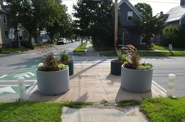 Planters at Elmwood Avenue and Grant Street in Burlington's Old North End - KATIE JICKLING