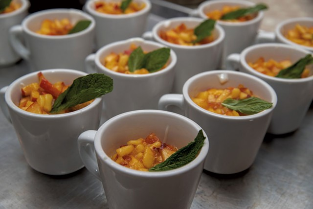 """Muhallebi """"milk pudding"""" with peaches and mint - JAMES BUCK"""