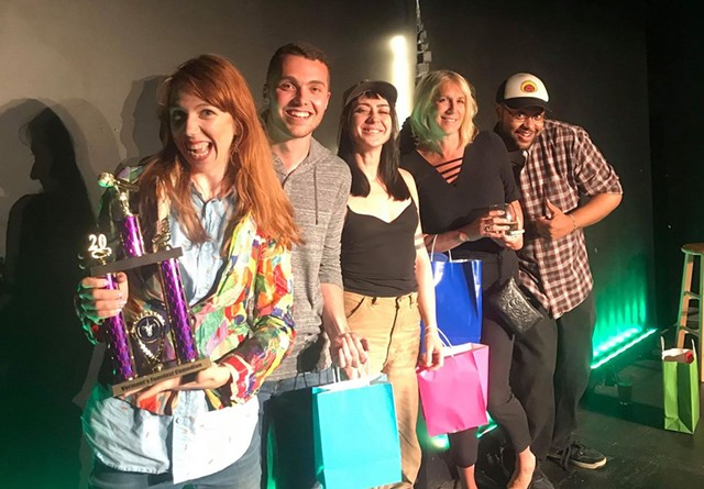 Vermont's Funniest Comedian finalists, left to right: Tina Friml, Kyle Gadapee, Gladys, Tracie Spencer, Mike Thomas - COURTESY OF VERMONT COMEDY CLUB
