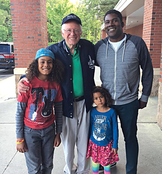 Sen. Bernie Sanders and fans outside Hannaford - COURTESY OF BOBBY HACKNEY JR.