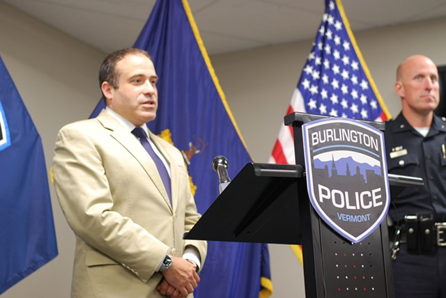 Burlington Police Chief Brandon del Pozo at a press conference - FILE: SARA TABIN
