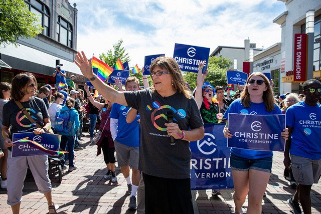 Christine Hallquist at the Pride Parade in Burlington Saturday - JAMES BUCK