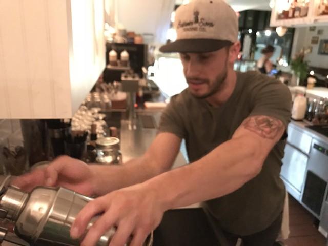 Eddie DiDonato loads the electric shaker - SALLY POLLAK