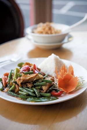 Spicy Green Bean dish with tofu and Khao Soi with chicken at Sabai Sabai Thai Cuisine - CALEB KENNA