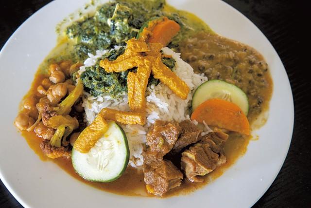 Mutton thali with halal mutton from Everest Indian-Nepali Restaurant - PHOTOS: JAMES BUCK