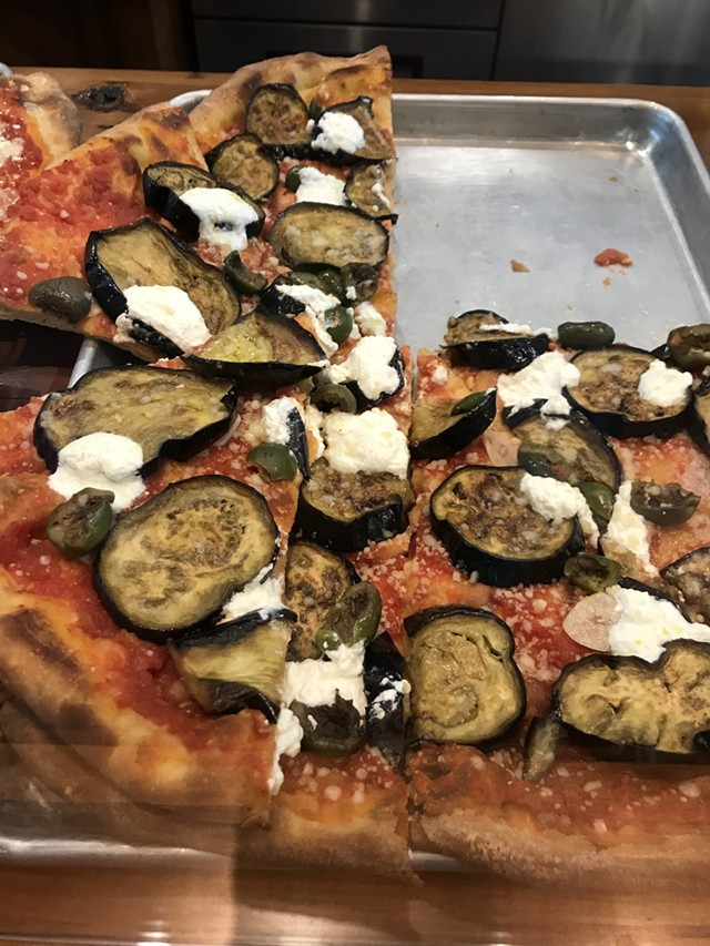 Eggplant pizza at Philo Ridge Farm - SALLY POLLAK