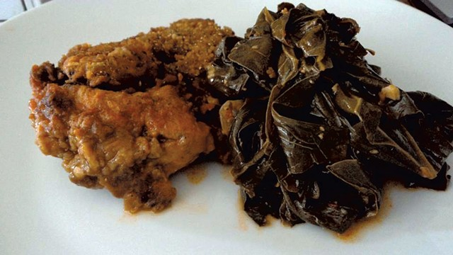 Maple Soul's chicken with collard greens - COURTESY OF MAPLE SOUL