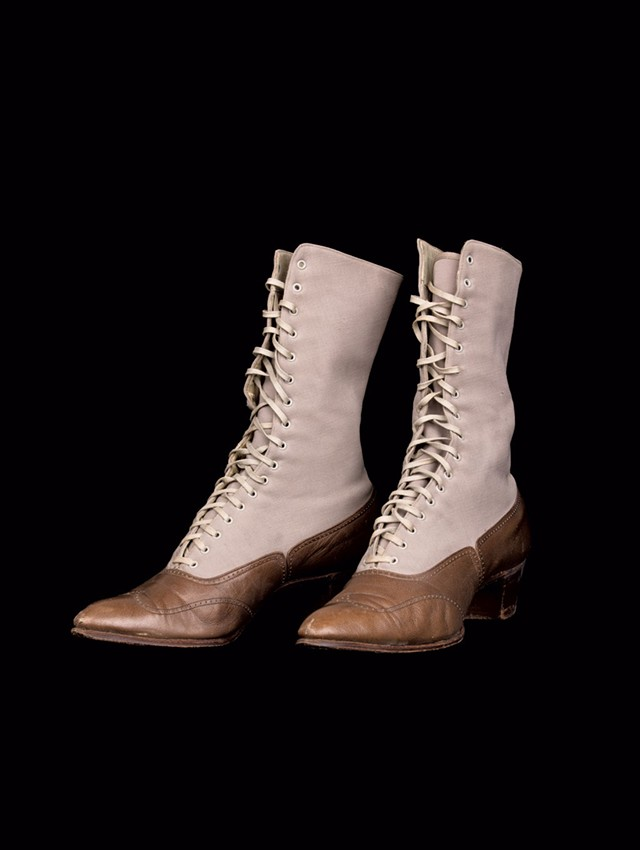 Leather and wool gabardine boots, circa 1910 - COURTESY OF THE FLEMING MUSEUM OF ART