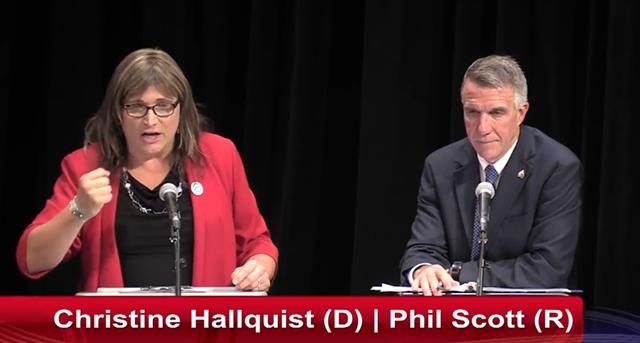 Christine Hallquist and Gov. Phil Scott at Wednesday's debate in Rutland - SCREENSHOT