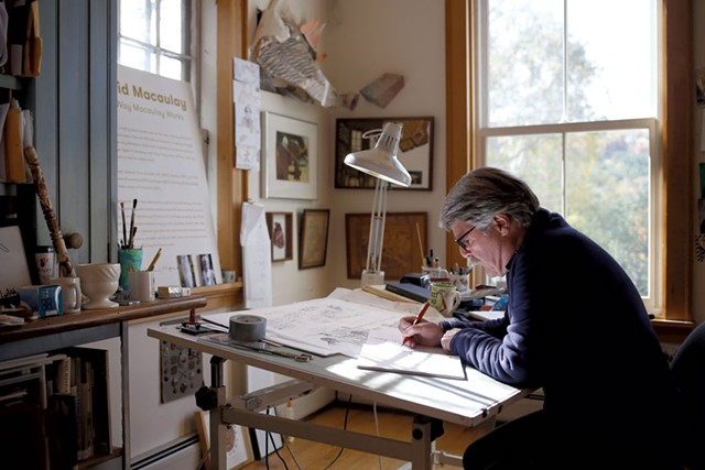 Illustrator David Macaulay in his Norwich studio - SARAH PRIESTAP