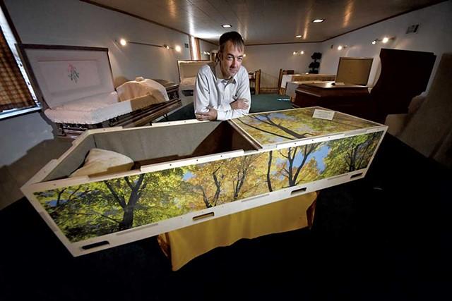 Matt Kasvinsky with one of his handcrafted caskets - STEFAN HARD