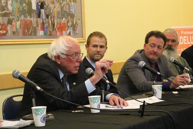 Sen. Bernie Sanders speaks during Monday's forum - PAUL HEINTZ
