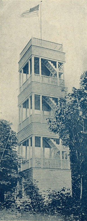 Postcard of original wood tower on Mount Philo - COURTESY OF JUDY CHAVES