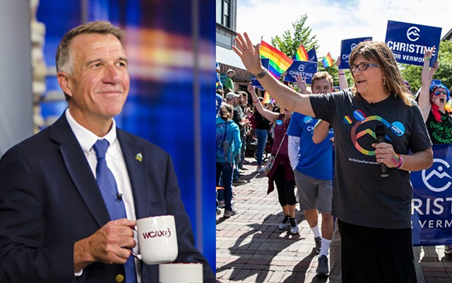 Gov. Phil Scott (left) and Christine Hallquist - GLENN RUSSELL | JAMES BUCK
