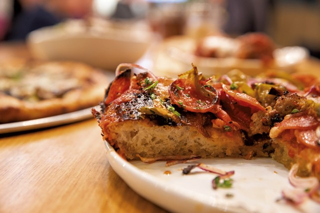 Pepperoni-and-sausage thick crust at Pizza 44 - JAMES BUCK