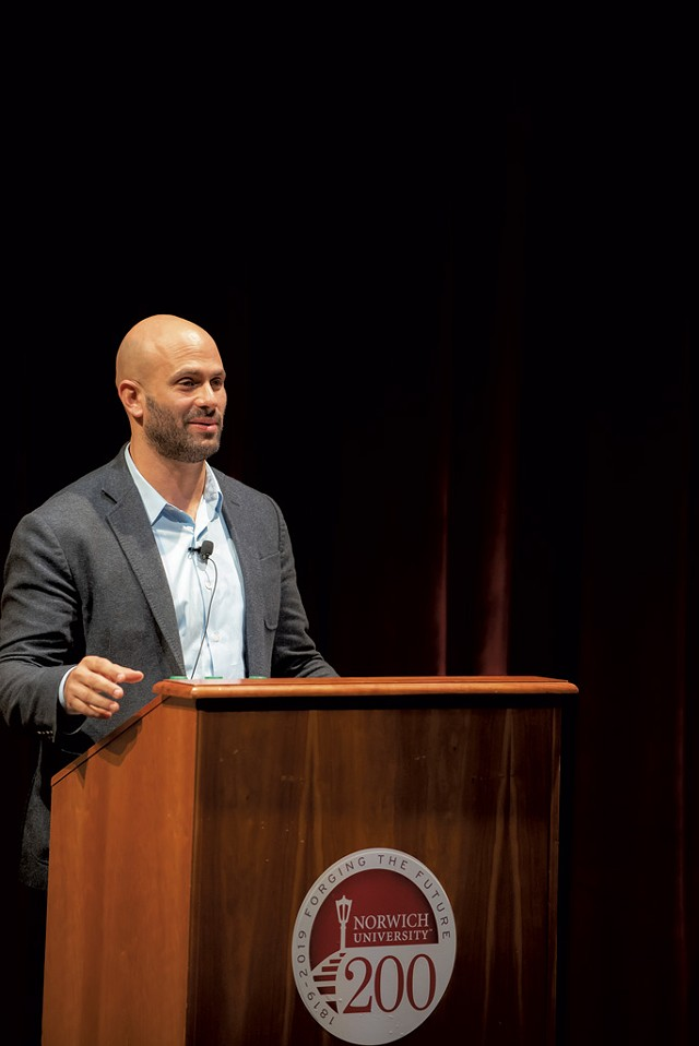 Sam Kass speaking at Norwich University - COURTESY OF MARK COLLIER/NORWICH UNIVERSITY