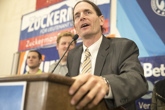 David Zuckerman after unofficial results show he won the race for lieutenant governor. - JAMES BUCK