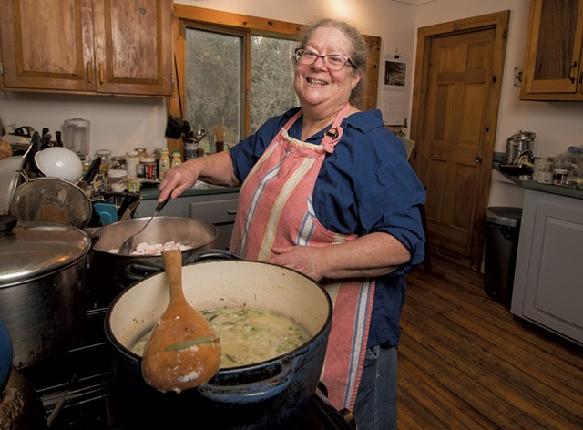 Food writer Andrea Chesman at her home in Ripton - CALEB KENNA