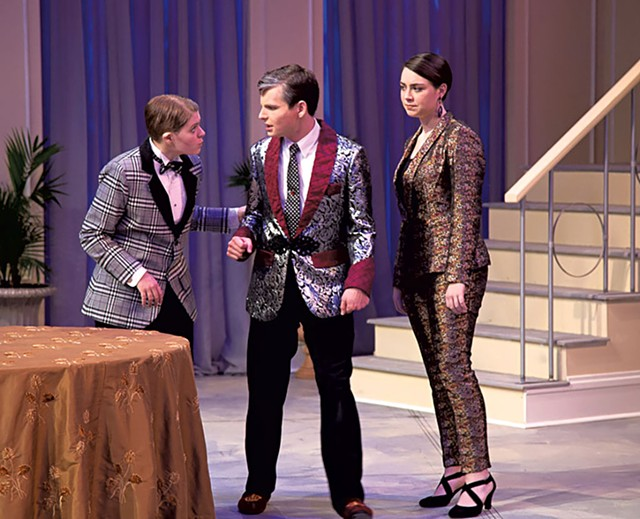 Keaton Harper as Cléante, Ray Gillies as Tartuffe and Emma Cashman as Dorine - COURTESY OF DOK WRIGHT