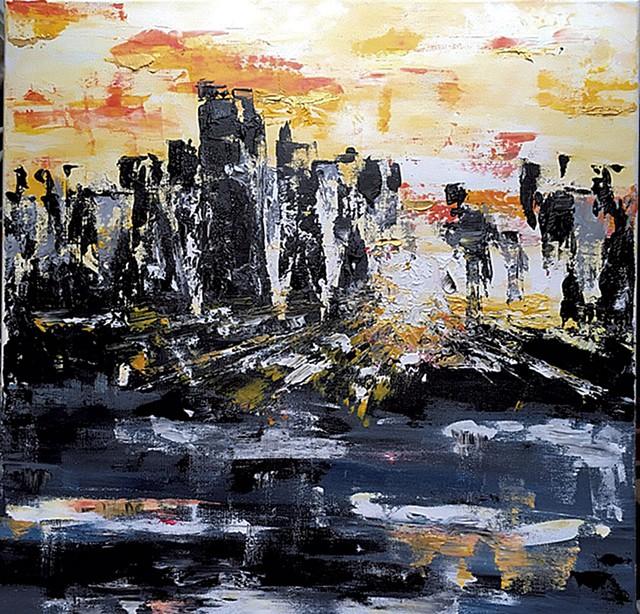 """Sunrise in the City,"" acrylic on canvas"