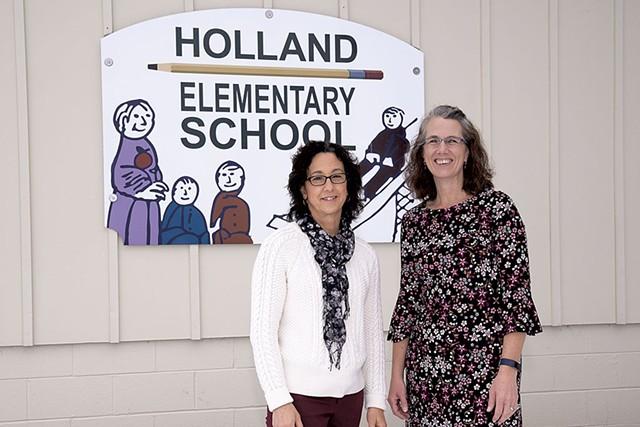 Principal Kelli Dean (left) and secretary Nikki Bickford - DON WHIPPLE