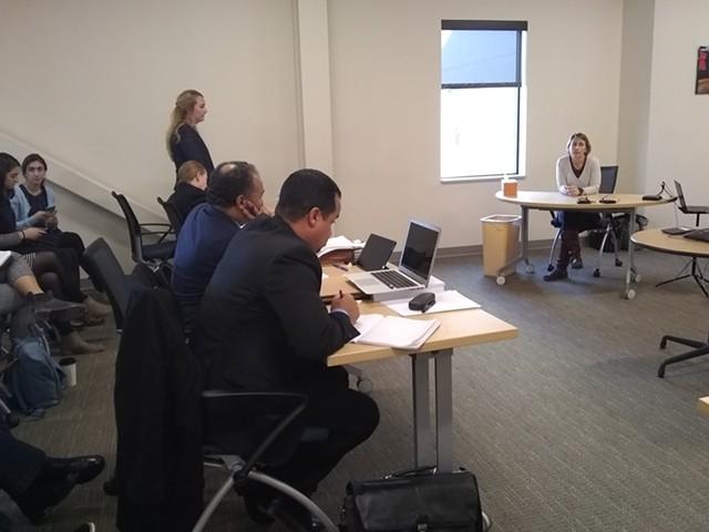 Yvette Amblo-Bose (right) testifying on Thursday - KATIE JICKLING
