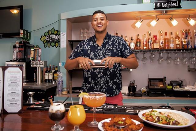 Kassian Prior making signature cocktails - JAMES BUCK