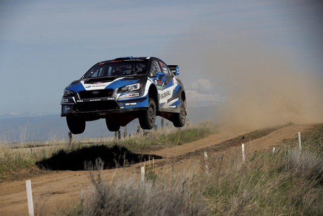Chris Atkinson jumping his Subaru at the 2018 Oregon Trail Rally - COURTESY OF VERMONT SPORTSCAR AND SUBARU RALLY TEAM USA