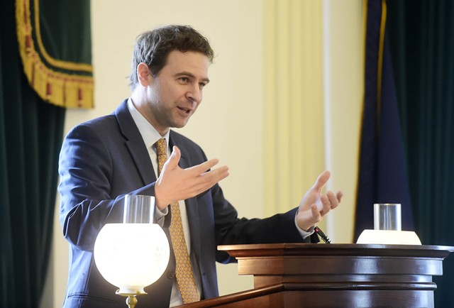 Sen. Tim Ashe delivers opening remarks to the Senate. - JEB WALLACE-BRODEUR