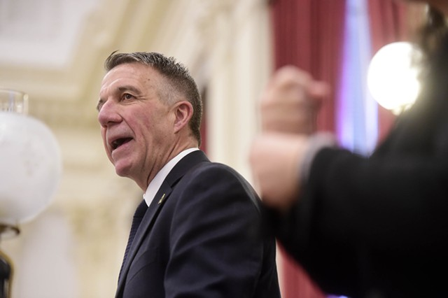 Gov. Phil Scott delivers his second inaugural address. - JEB WALLACE-BRODEUR