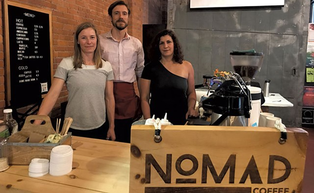 Left to right: Nomad Coffee owners Nicole Grinstead and Andrew Sepic with chef Suzanne Podhaizer - SALLY POLLAK