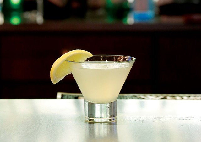 A lemon ginger martini made with Green Mountain Vodka, ginger liqueur, lemon juice, and agave nectar, at the Barrows House in Dorset, Vt. - SARAH PRIESTAP