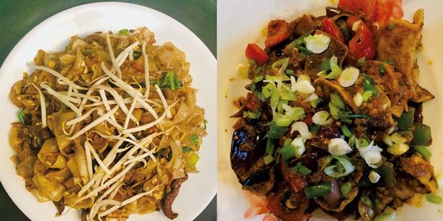 Beef flat noodles and Momo Chili at Maya's Kitchen & Bar - COURTESY OF MAYA'S KITCHEN & BAR