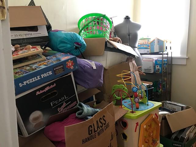 Storage closet before decluttering - KRISTEN RAVEN
