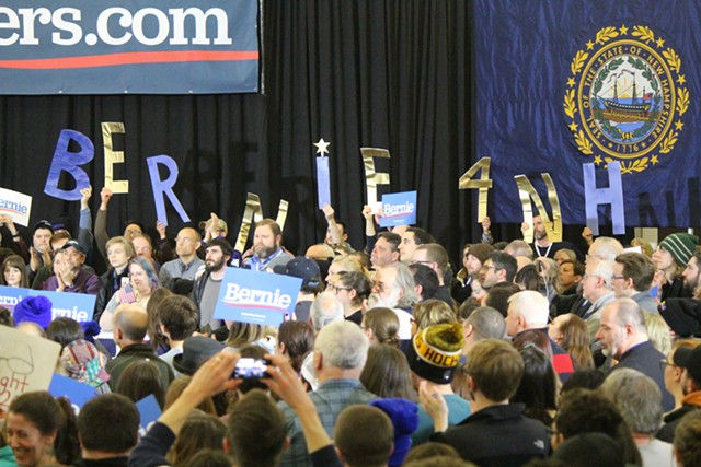 Bernie Sanders supporters at a rally in Concord, N.H. - PAUL HEINTZ