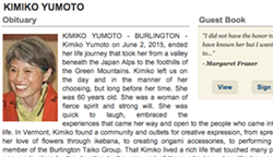 From the Burlington Free Press obituary - SCREEN SHOT