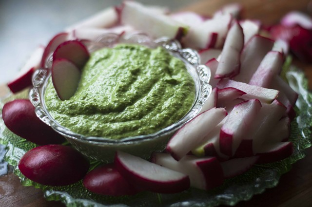 Radish sticks with green-garlic-and-radish-greens pesto: light and crisp for a hot summer's day. - HANNAH PALMER EGAN