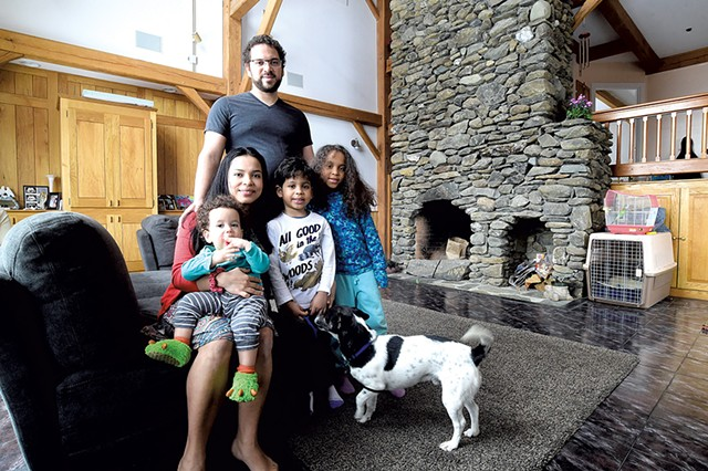 Miguel Turner with his wife, Milagro; their children (from left) Allen, Sebastian and Sofia; and their dog, Max - JEB WALLACE-BRODEUR