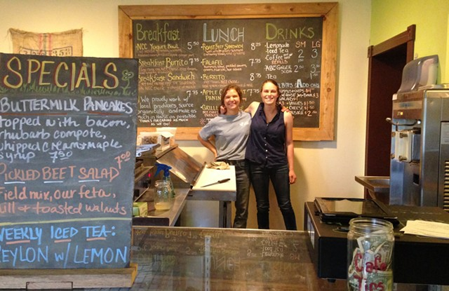 My new friends, Berlin Krebs (left) and Marla Gilman (right), of Clover Mead Café & Farm Store - STACEY BRANDT