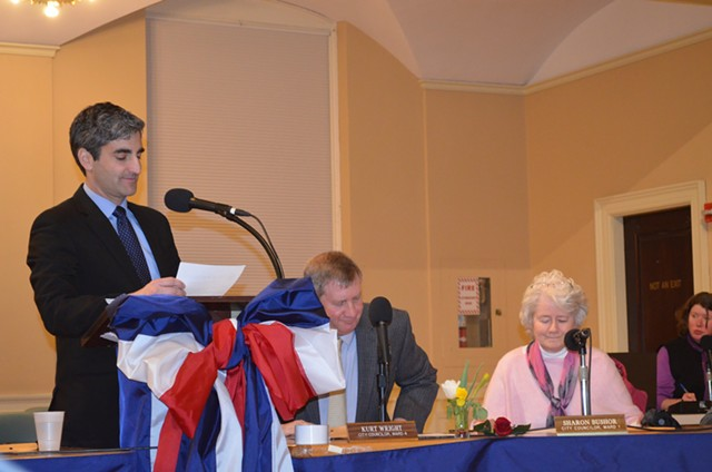 From left, Mayor Miro Weinberger, Councilors Kurt Wright and Sharon Bushor during a meeting earlier this year - ALICIA FREESE
