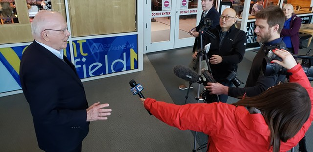 U.S. Sen. Patrick Leahy (D-Vt.) speaks to the media at Burlington International Airport Sunday. - KEVIN MCCALLUM
