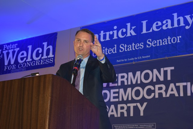 Chittenden County State's Attorney T.J. Donovan speaks Friday night at the Vermont Democratic Party's annual Curtis Awards dinner. - TERRI HALLENBECK