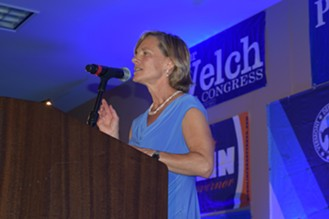 State Transportation Secretary Sue Minter speaks Friday night at the Vermont Democratic Party dinner. - TERRI HALLENBECK