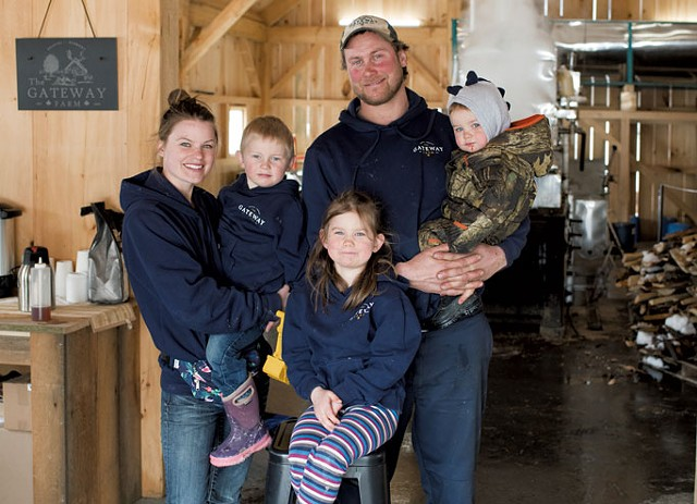 Trent and Abby Roleau with their children (from left) Kennet, Sophia and Bradley - CALEB KENNA