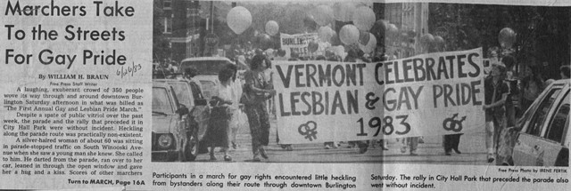 A 1983 Burlington Free Press story on Burlington's first gay pride march. - BERNARD SANDERS PAPERS, SPECIAL COLLECTIONS, UNIVERSITY OF VERMONT LIBRARY