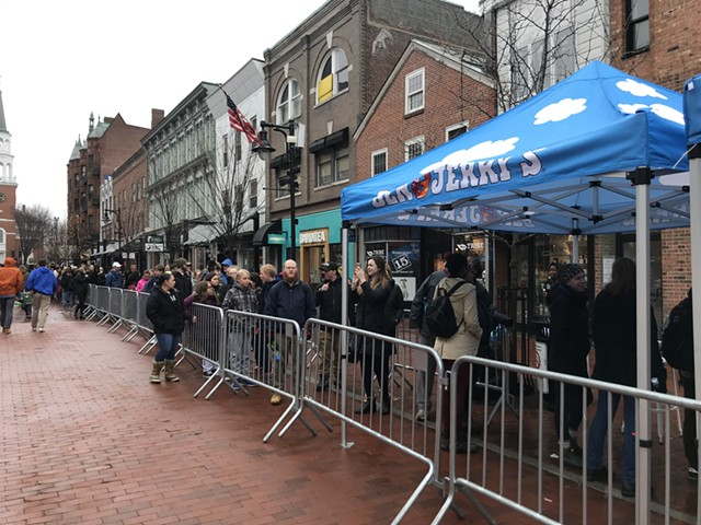 Waiting for a free ice cream cone at Ben & Jerry's on Church Street - SALLY POLLAK